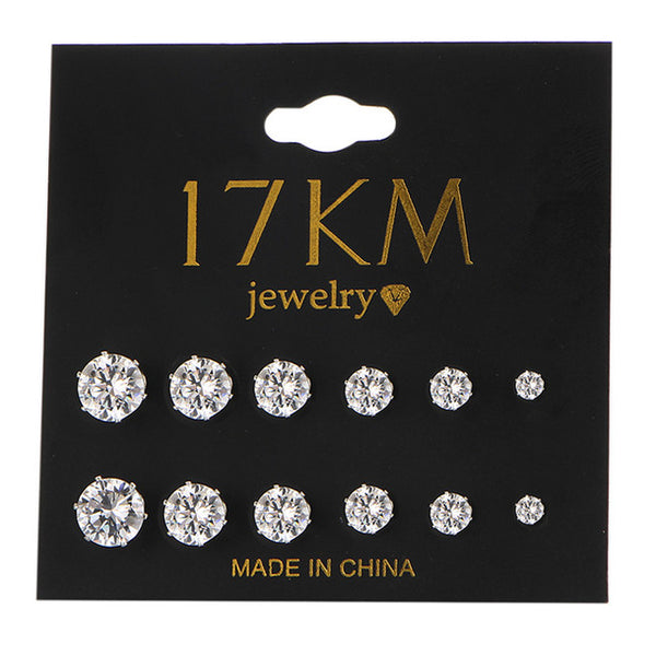 6 Pair/set Accessories Crystal Stud Earrings Set