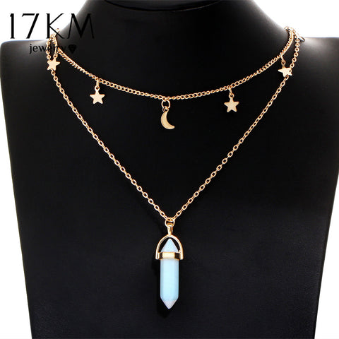 Big Stone Moon & Star Pendant Tattoo Choker 6 colours