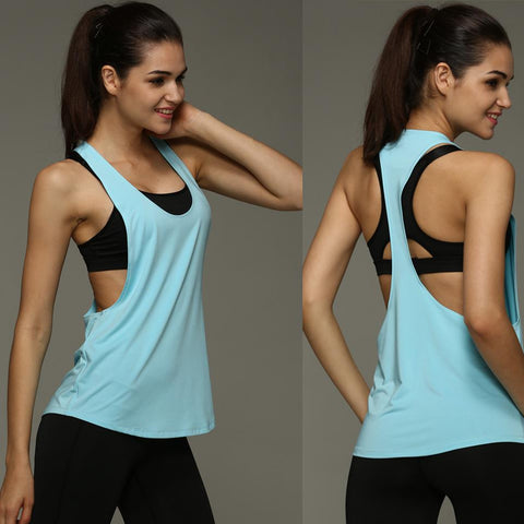 Women's Sexy loose Sporting Tank Top with racerback, great for Fitness Workouts, Sleeveless Shirt and  Quick Drying Loose Vest comes in 8 colors