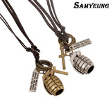 CS GO Leather Chain Cross and Grenade Necklace