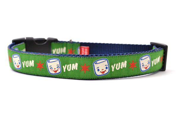 Large Green Dog collar with Marshall the Marshmallow.  Marshall is shown smiling and giggling. The design also includes the word YUM.