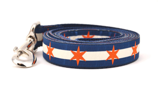 Chicago Flag Dog Leashes in Bears & Blackhawks Colors