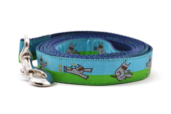 Dog leash that is half blue and half green with a dog dressed in a Ninja Suit.  The dog is shown in various tai chi positions.