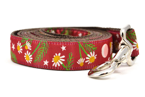 Large burgundy dog leash with chamomile flowers, stars, and half moon design.