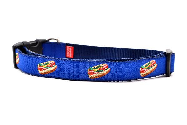 Large navy dog collar with design that represents Chicago Style Hot Dog.