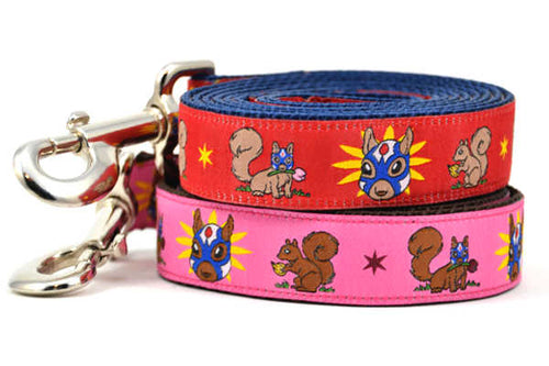 Two dog leashes - one red and one pink - design includes squirrel in lucha libre mask with a yellow flower behind it and a tulip on the mask.  One small squirrel with a tulip in its mouth and one with a tulip bulb.  Also, a six pointed star.