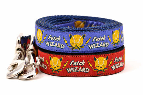Two dog leashes - one red, one light purple - with words Fetch Wizard - and tennis ball icon with lightening bolts.
