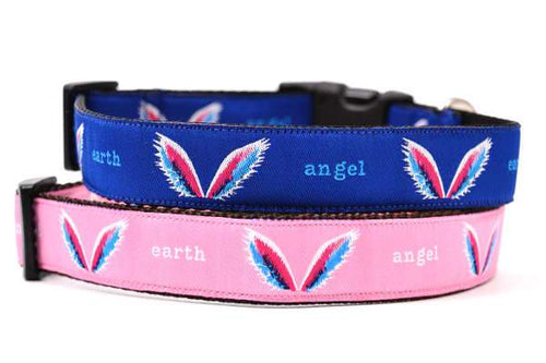 Picture of two dog collars one pink one blue stacked.  Dog design includes angel wings and the words earth angel.