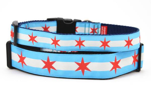 Stack of two dog collars with two light blue stripes and one white stripe and red six pointed stars - representing the Chicago Flag.