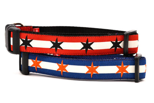 Chicago Flag Dog Collars in Bears & Blackhawks Colors