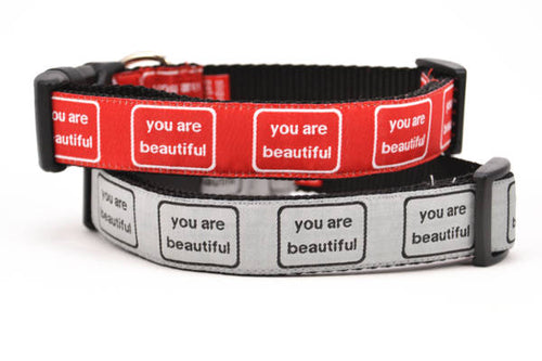 Two dog collars stacked.  One is silver with the words you are beautiful in black.  One is red with the words you are beautiful in white.