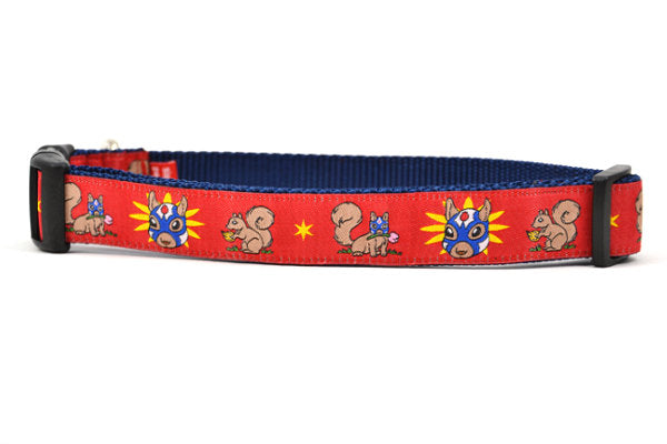 Large red dog collar - design includes squirrel in lucha libre mask with a yellow flower behind it and a tulip on the mask.  One small squirrel with a tulip in its mough and one with a tulip bulb.  Also, a six pointed star.