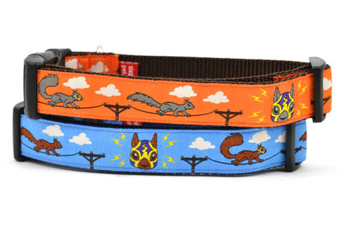Two dog collars - one orange, one light blue - design includes squirrels running on telephone wires and squirrel in lucha libre mask.  The mask is purple and yellow with electrical sparks coming from the mask.