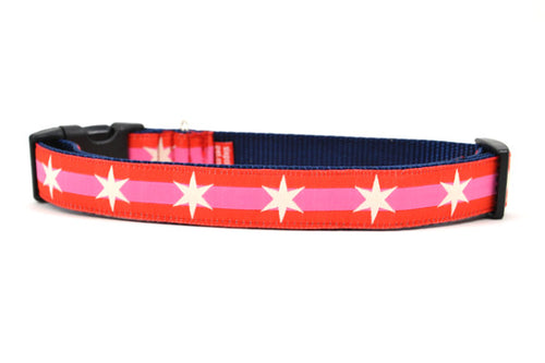 Large dog collar with 2 outer red stripes and 1 pink stripe in the middle and white six pointed stars around the collar.