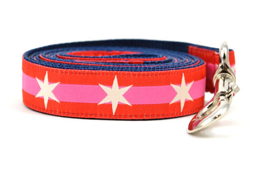 Large dog leash with 2 outer red stripes and 1 pink stripe in the middle and white six pointed stars around the collar.