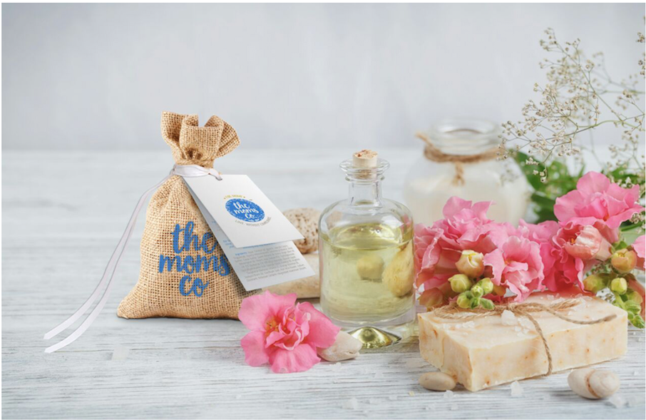 New Mom's Pamper Box:  Maternity Dress, Scarf, Body Care & Spa