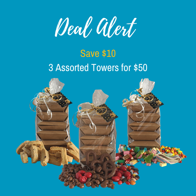 3 Assorted Towers - 1 of each, Cookie, Candy and Chocolate