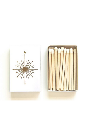Compass Rose Matchbox in White/Gold