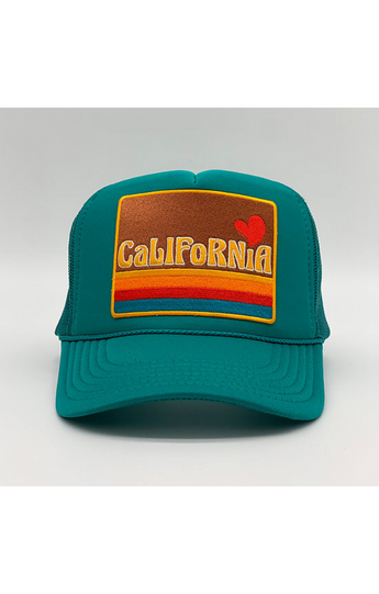 """California Love"" Trucker Hat in Turquoise"