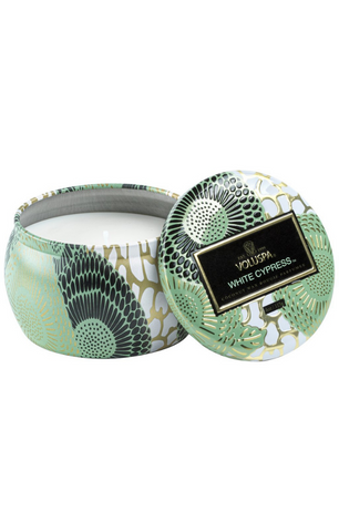 White Cypress Petite Tin Candle