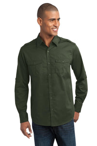Port Authority® Stain-Release Roll Sleeve Twill Shirt. S649