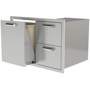 "30"" Heritage Series Trash Propane Rollout & 2 Drawer combo"