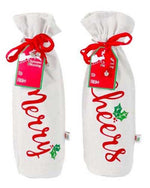 Holiday Words Wine Bag with Bells
