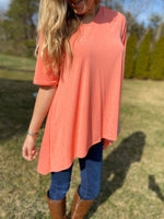 Solid Coral Top with High Low Hem - Wild Magnolia