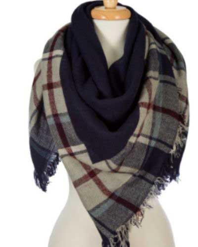 Reversible Plaid Blanket Scarves