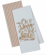 All is Merry and Bright Set of 2 Dishtowel - Wild Magnolia