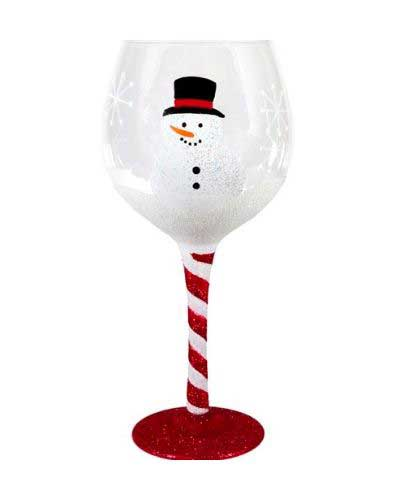 Snowman Glitter Wine Glass