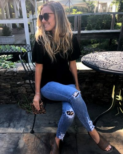 Leopard Patch Ripped Jeans