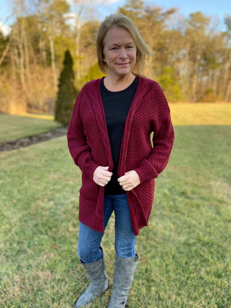 Burgundy Long Sleeve Cardigan Sweater with Pockets.