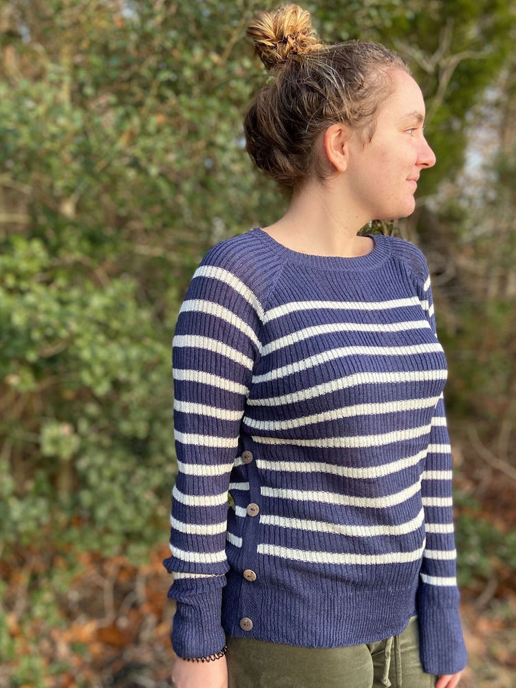 Striped Sweater Top with Side Buttons
