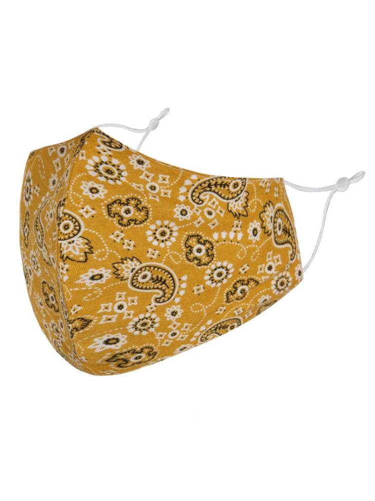 Mustard Paisley Adjustable Face Mask