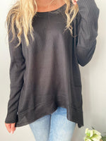 Asymmetrical Waffle Knit Top in Black