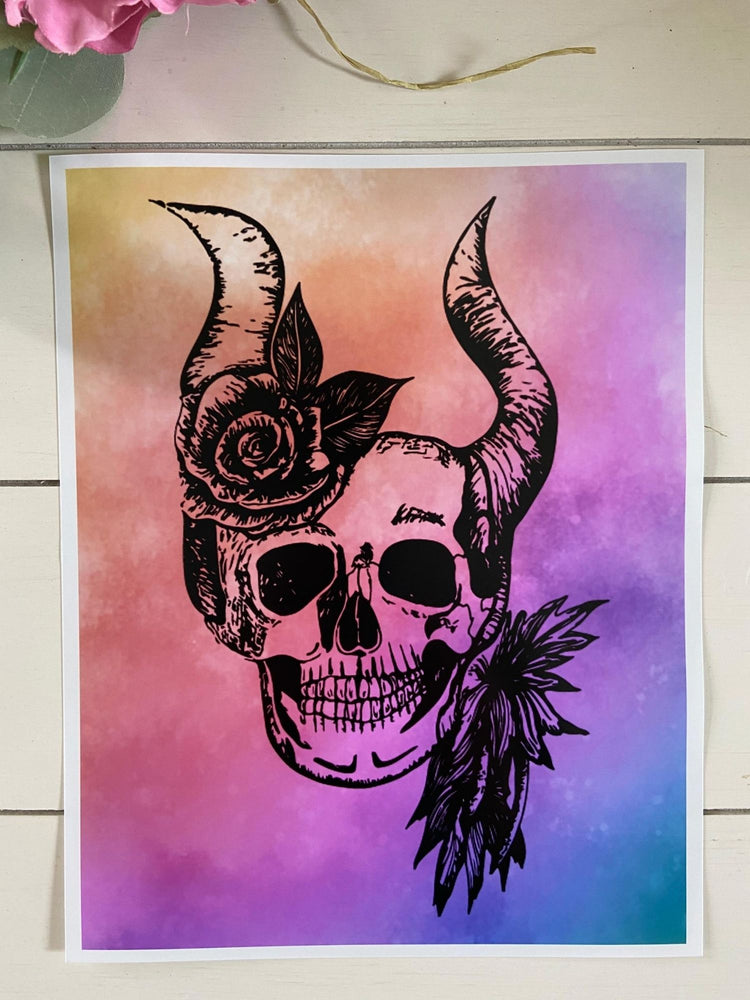 Colorful Skull 8 x 10 Print