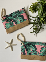 Tropical Palms Pouch in Pink - Wild Magnolia