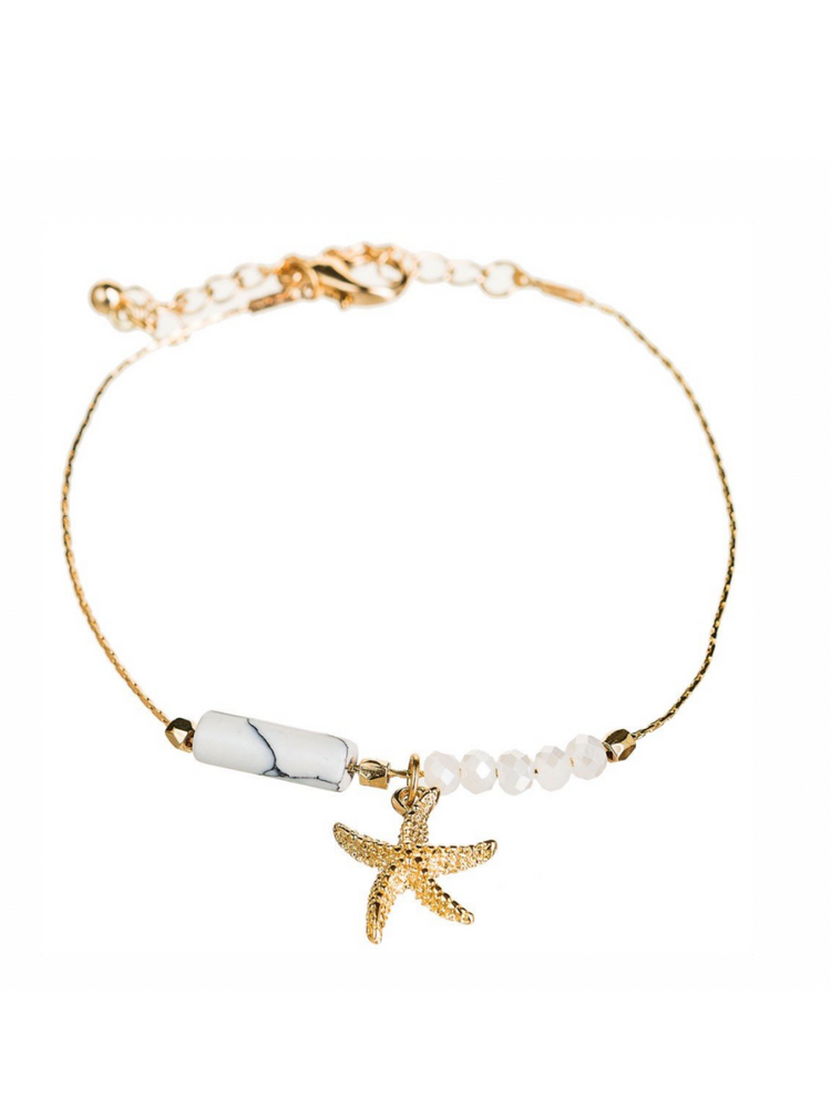 Gold Ivory Starfish Anklet