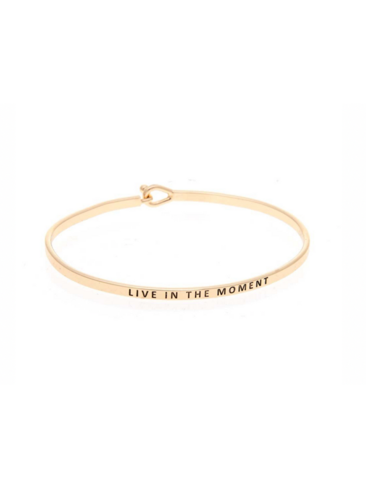 Gold Live in the Moment Brass Bangle