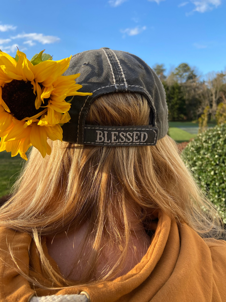 Blessed Distressed Sunflower Hat - Wild Magnolia