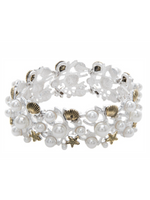 Silver Gold Pearl Mosaic Sea Life Bracelet