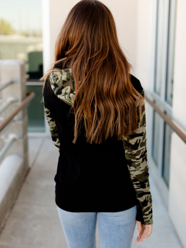 Cute in Camo Half Zip Sweatshirt