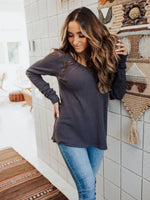 Charcoal Gray Ribbed V-Neck