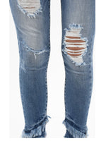 Mid Rise Ankle Skinny Jeans with Fringe