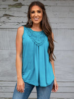 Jade Sleeveless Top with Crochet Details