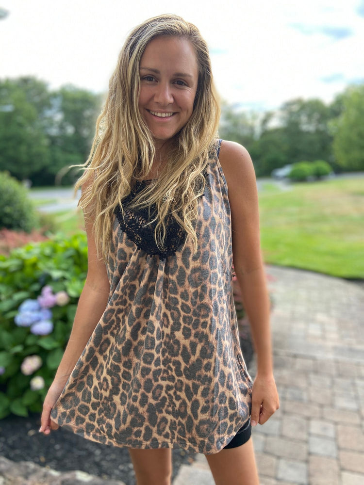 Leopard Sleeveless Top with Crochet Details
