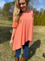 Solid Coral Top with High Low Hem