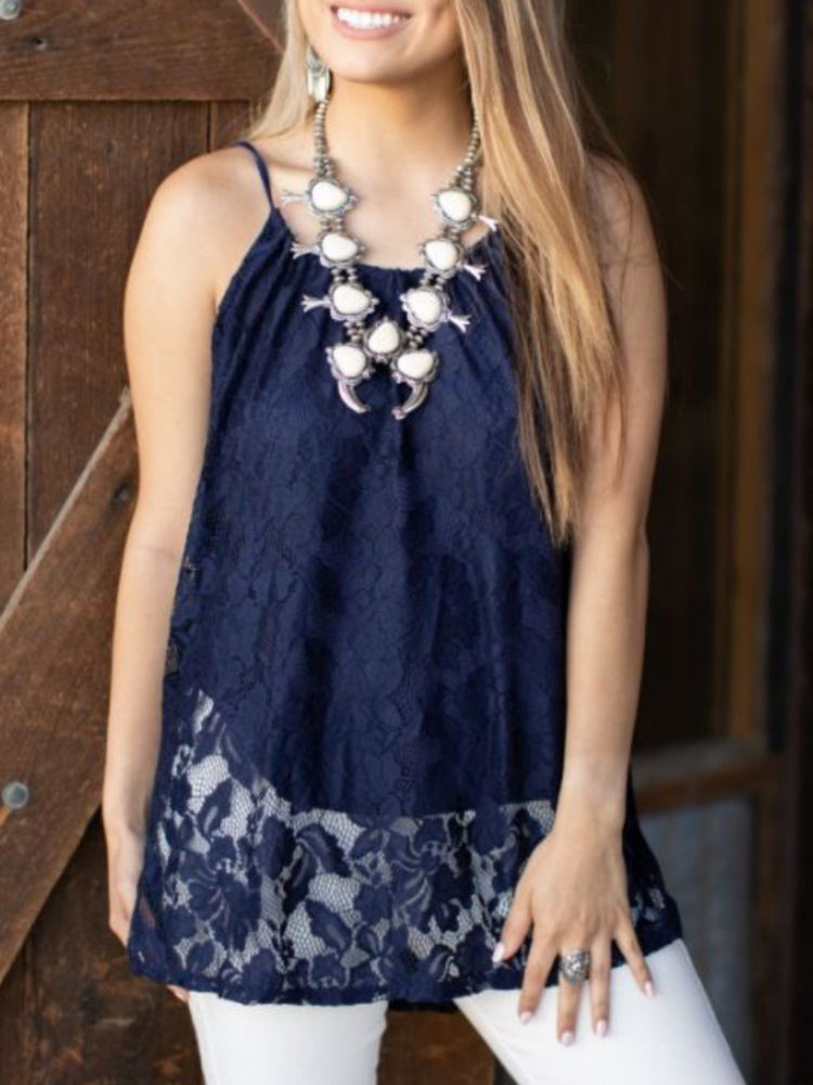 Navy Lace Gathered Tank Top
