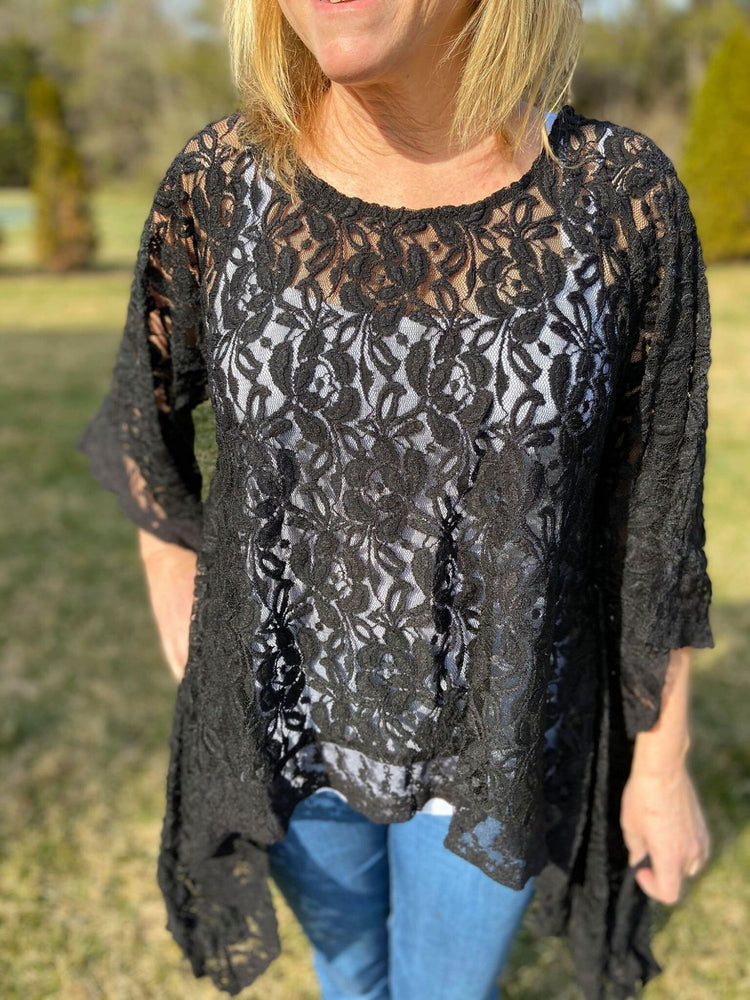 Asymmetrical crochet top is very flattering and can be worn many different ways.